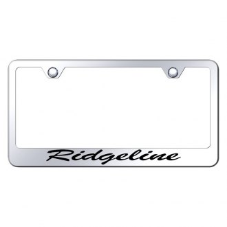 Autogold® - Chrome License Plate Frame with Script Laser Etched Ridgeline Logo
