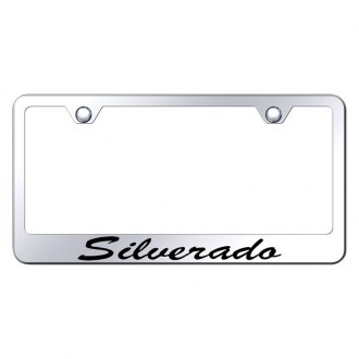 Autogold® - Chrome License Plate Frame with Script Laser Etched Silverado Logo