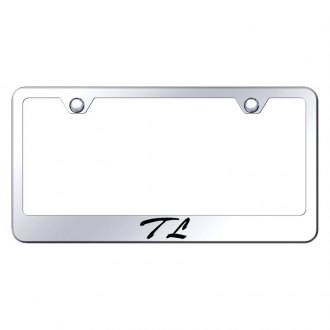 Autogold® - Chrome License Plate Frame with Script Laser Etched TL Logo