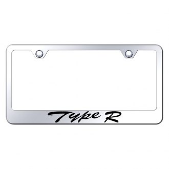 Autogold® - Chrome License Plate Frame with Script Laser Etched Type R Logo