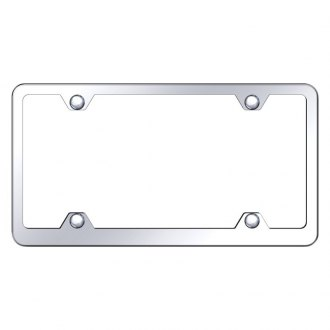 Autogold® - Plain 4-Hole Wide Body Chrome License Plate Frame