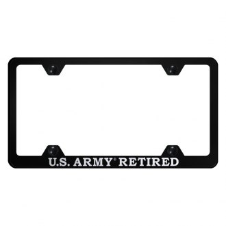 Autogold® - Wide Body License Plate Frame with Laser Etched Military Retired Logo