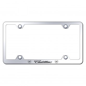 Autogold® - Wide Body Chrome License Plate Frame with Laser Etched Cadillac Logo and Emblem