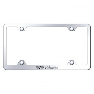 Autogold® - Wide Body Chrome License Plate Frame with Laser Etched Cadillac New Logo