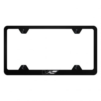Autogold® - Wide Body License Plate Frame with Laser Etched Cadillac V Logo