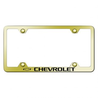 Autogold® - Wide Body Gold License Plate Frame with Laser Etched Chevrolet Logo