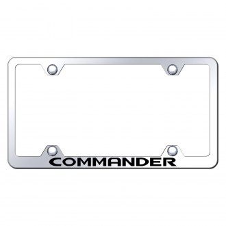 Autogold® - Wide Body Chrome License Plate Frame with Laser Etched Commander Logo