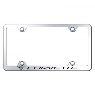 Autogold® - Wide Body Chrome License Plate Frame with Laser Etched Corvette C5 Logo
