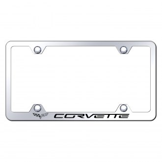Autogold® - Wide Body Chrome License Plate Frame with Laser Etched Corvette C6 Logo