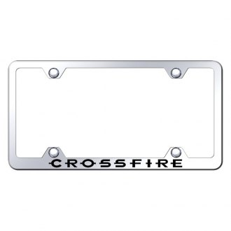 Autogold® - Wide Body Chrome License Plate Frame with Laser Etched Crossfire Logo