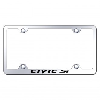 Autogold® - Wide Body Chrome License Plate Frame with Laser Etched Civic Si Logo