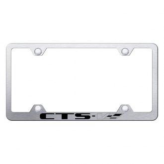 Au-Tomotive Gold Cadillac V CTS-V Logo Laser Etched Frame Black Gloss License Plate Frame INC