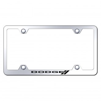 Autogold® - Wide Body Chrome License Plate Frame with Laser Etched Dodge Stripes Logo