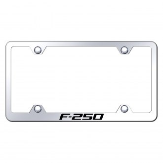 Autogold® - Wide Body Chrome License Plate Frame with Laser Etched F-250 Logo