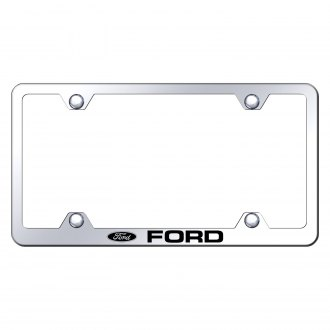 Autogold® - Wide Body Chrome License Plate Frame with Laser Etched Ford Logo