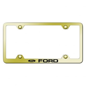 Autogold® - Wide Body Gold License Plate Frame with Laser Etched Ford Logo