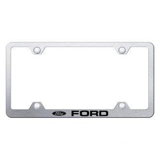 Autogold® - Wide Body Brushed License Plate Frame with Laser Etched Ford Logo