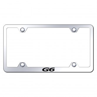 Autogold® - Wide Body Chrome License Plate Frame with Laser Etched G6 Logo