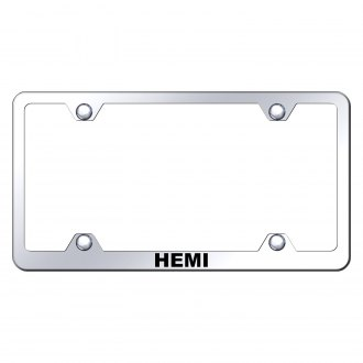 Autogold® - Wide Body Chrome License Plate Frame with Laser Etched HEMI Logo