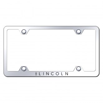 Autogold® - Wide Body Chrome License Plate Frame with Laser Etched Lincoln Logo