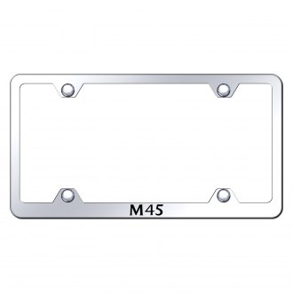 Autogold® - Wide Body Chrome License Plate Frame with Laser Etched M45 Logo