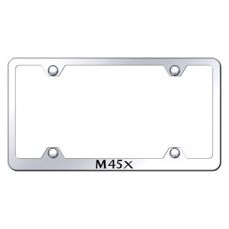 Autogold® - Wide Body Chrome License Plate Frame with Laser Etched M45X Logo