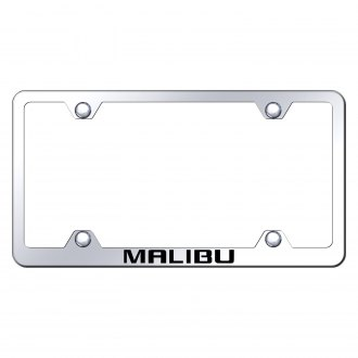 Autogold® - Wide Body Chrome License Plate Frame with Laser Etched Malibu Logo