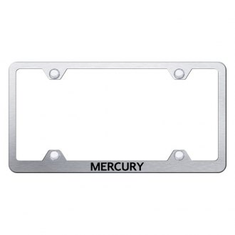 Autogold® - Wide Body Brushed License Plate Frame with Laser Etched Mercury Logo
