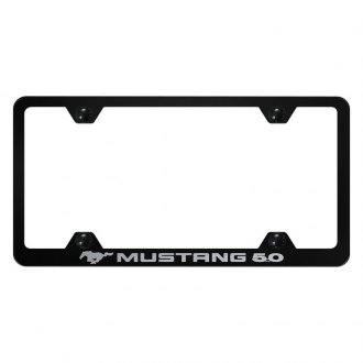 Autogold® - Wide Body Black License Plate Frame with Laser Etched Mustang 5.0 Logo