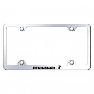 Autogold® - Wide Body Chrome License Plate Frame with Laser Etched Mazda 3 Logo