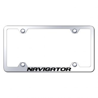 Autogold® - Wide Body Chrome License Plate Frame with Laser Etched Navigator Logo