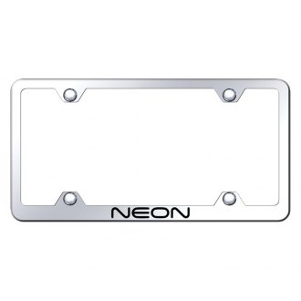 Autogold® - Wide Body Chrome License Plate Frame with Laser Etched Neon Logo