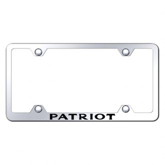 Autogold® - Wide Body Chrome License Plate Frame with Laser Etched Patriot Logo