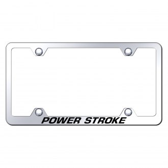 Autogold® - Wide Body Chrome License Plate Frame with Laser Etched Power Stroke Logo