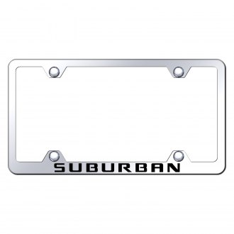 Autogold® - Wide Body Chrome License Plate Frame with Laser Etched Suburban Logo