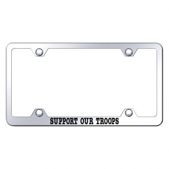 Autogold® - Wide Body Chrome License Plate Frame with Laser Etched Support Our Troops Logo