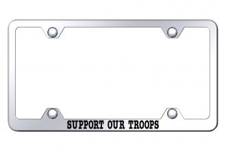 Autogold® - Wide Body License Plate Frame with Laser Etched Support Our Troops Logo