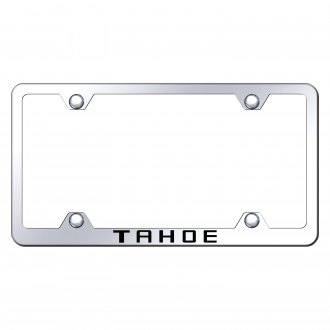 Autogold® - Wide Body Chrome License Plate Frame with Laser Etched Tahoe Logo