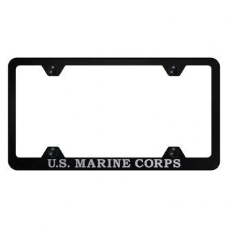 Autogold® - Wide Body License Plate Frame with Laser Etched Military Logo with U.S. Marine Corps Logo