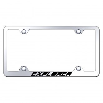 Autogold® - Wide Body Chrome License Plate Frame with Laser Etched Explorer Logo