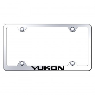 Autogold® - Wide Body Chrome License Plate Frame with Laser Etched Yukon Logo