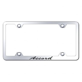 Autogold® - Wide Body Chrome License Plate Frame with Script Laser Etched Accord Logo