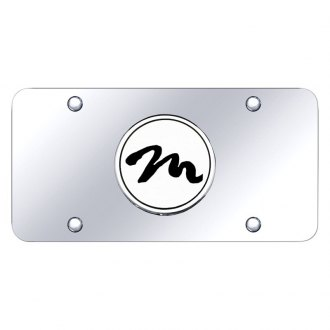 Autogold® - Chrome License Plate with 3D Script Chrome M Emblem