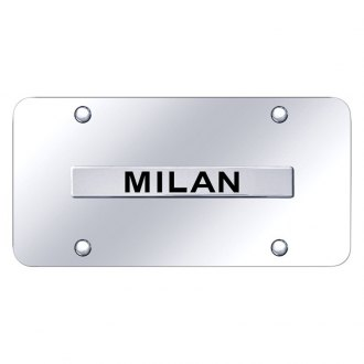 Autogold® - Chrome License Plate with 3D Chrome Milan Logo