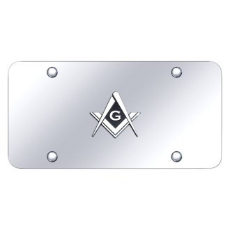 Autogold® - Chrome License Plate with 3D Mason Logo