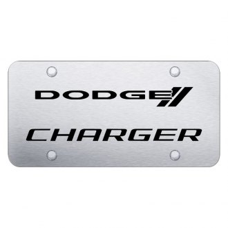 Autogold® - Brushed License Plate with Laser Etched Charger Logo