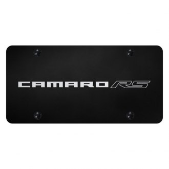 Autogold® - Black License Plate with Laser Etched Camaro RS Logo