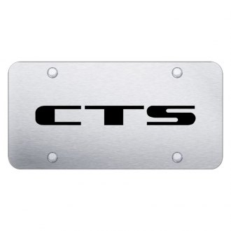 Autogold® - Brushed License Plate with Laser Etched Cadillac CTS Logo and Cadillac Emblem