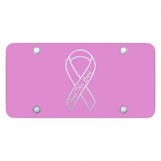 Autogold® - Pink License Plate with Laser Etched Find The Cure Logo
