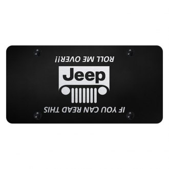 Autogold® - Black License Plate with Laser Etched Jeep Grill (Roll) Logo